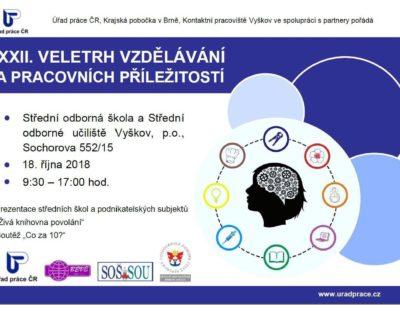 Pozvánka – Veletrh vzdělávání a pracovních příležitostí Vyškov – 18. října 2018