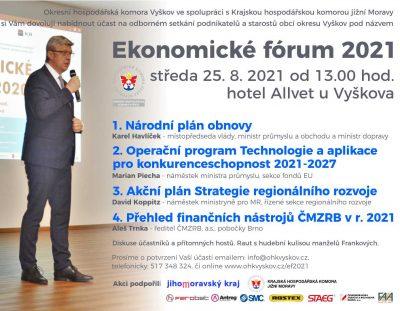 Pozvánka – aktualizovaná – Ekonomické fórum – podnikatelské setkání – 25. 8. 2021