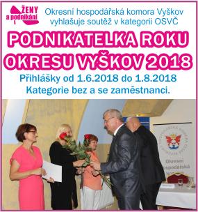 """Vyhlášení – soutěž """"Podnikatelka roku okresu Vyškov 2018"""" – 5. ročník soutěže"""