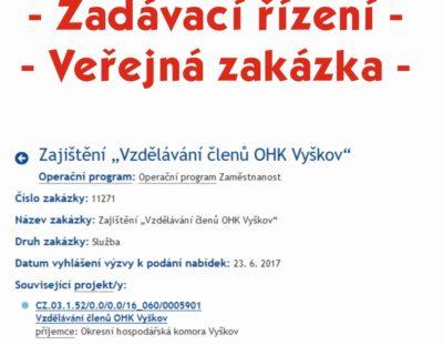 """Vyhlášení- zadávací řízení  """"Zajištění  Vzdělávání členů OHK Vyškov"""" do 14.7.2017"""